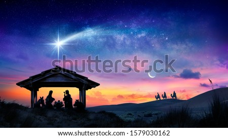 Nativity Of Jesus - Scene With The Holy Family With Comet At Sunrise  #1579030162