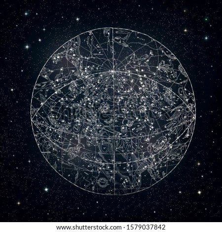 Antique constellations sky chart 1850 Royalty-Free Stock Photo #1579037842