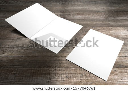 File folder mockup - front cover and opened - 3D rendering #1579046761