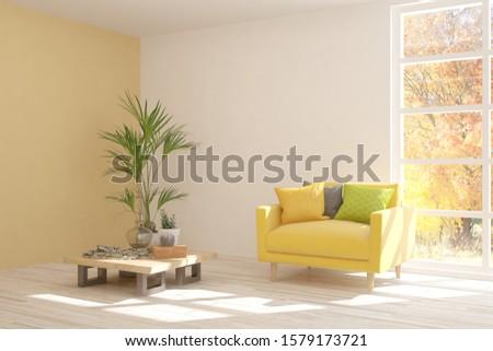 White stylish minimalist room with armchair and autumn landscape in window. Scandinavian interior design. 3D illustration #1579173721