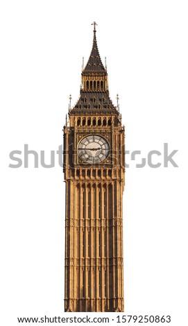 Big Ben tower (London, UK) isolated on white background Royalty-Free Stock Photo #1579250863