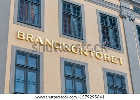 Stockholm, Sweden - September 24, 2019: Rosenadler Palace (Brandkontoret) inscription. #1579295641