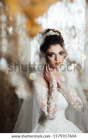 Cute bride with beautiful big green eyes. Beautiful bride with stylish make up and hair style with crown. Wedding photography. Morning of the bride. Bride hands near face. Bride's preparation at home #1579317604