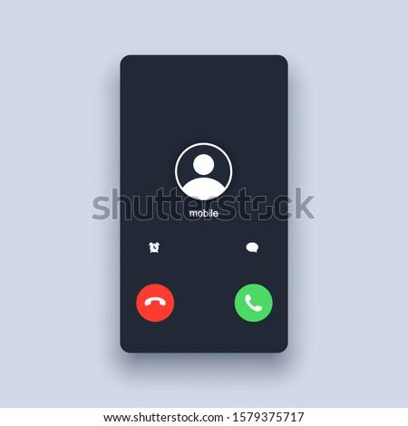 Mobile call screen template. Call screen smartphone interface mockup. Web app ui display template. Vector illustration. EPS 10