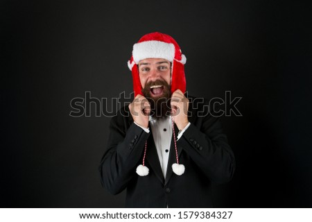 Winter is calling. Happy businessman dark background. Bearded man with winter party look. Winter fashion and accessory. Festive winter season. New year celebration. Merry christmas greetings. #1579384327