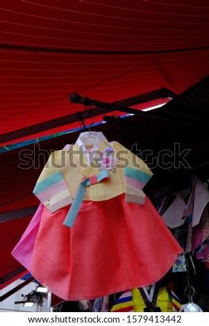 hanbok (in South Korean) or Chosŏn-ot (in North Korean) is a traditional Korean dress for semi-formal or formal attire during traditional occasions such as festivals, celebrations, and ceremonies.  #1579413442
