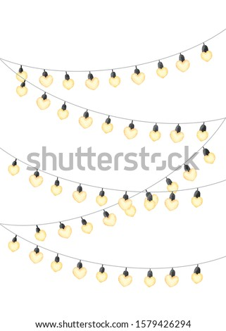 Watercolor party light bulb. Isolated on white background. Clipping path included. Heart shape. #1579426294