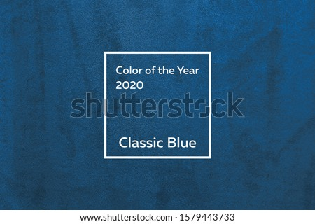 turquoise fabric with a nap pleated. Color of the year 2020 Classic Blue pantone Royalty-Free Stock Photo #1579443733