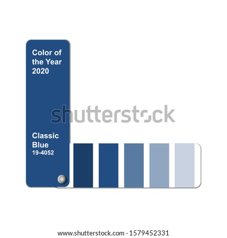 Color of the Year 2020, Classic Blue, trend colour palette sample swatch book guide, stock vector illustration clip art template isolated on white background with copy space Royalty-Free Stock Photo #1579452331