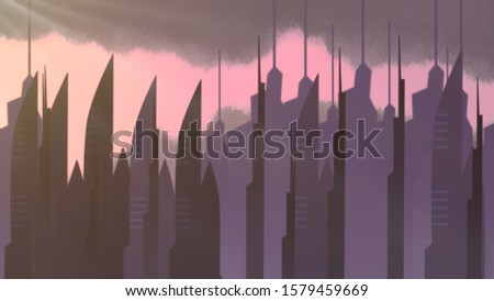 Cartoon background with motion clouds and buildings, abstract cityscape backdrop. Luxury and elegant 3D illustration of cartoon or kids theme #1579459669
