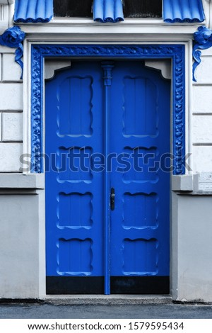 closeup of old Classic Blue Pantone color door. color of the year