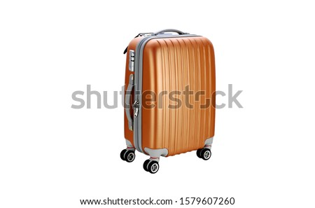 Suitcase on wheels for travel. Suitcase on wheeels. Suitcase isolated #1579607260