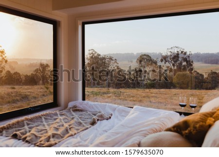 Tiny Home Interior In Wilderness Royalty-Free Stock Photo #1579635070