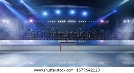 3-D ice hockey stadium. Rendering 3D. #1579642123