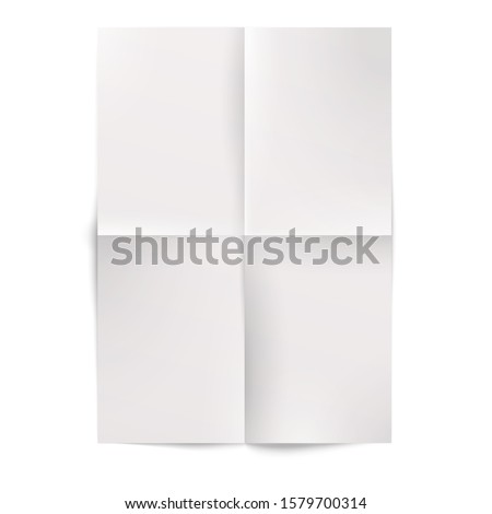Blank white folded paper sheet. A4 format document mockup
