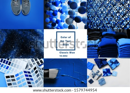 Collage with Classic Blue Pantone color of the year 2020   Royalty-Free Stock Photo #1579744954