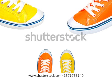 Athletic footwear isolated on white. Athletic shoes fashion. Sport footwear shoes. Athletic sport shoes #1579758940