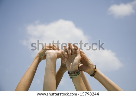 Hand on the air on blue sky background #15798244