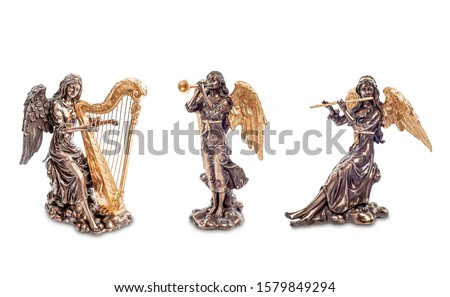 Angelic orchestra figurines isolated on white. Angel orchestra in heaven. Angels in music. Paradise music of angels #1579849294