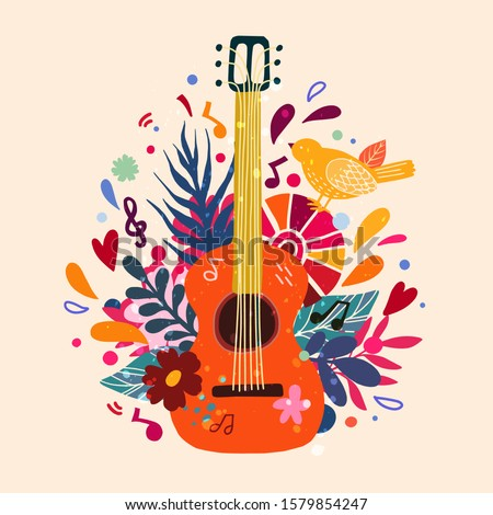 Guitar flat hand drawn vector illustration. Musical instruments shop, store poster design idea. Cartoon guitar with flowers and leaves. Rock band performance, concert banner template