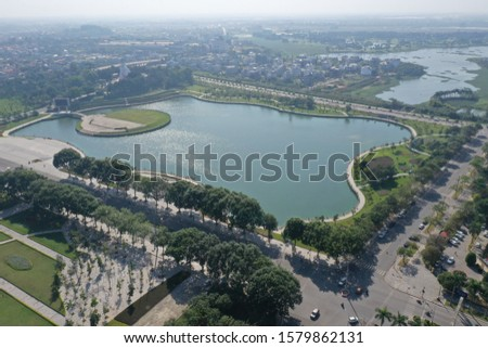 a small corner of Vinh Yen city in Vinh Phuc province seen from above. #1579862131