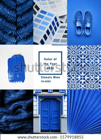Collage with Classic Blue Pantone color of the year 2020