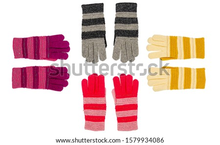 Knitted wool gloves set isolated on white background. Colorful khitted wool gloves. Knitted wool gloves multicolored. Color knitted wool gloves on white #1579934086