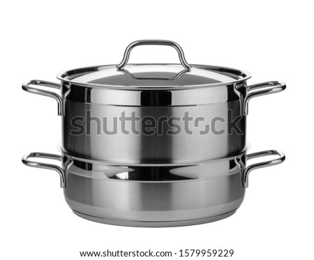 Stainless steel pot isolated on white background #1579959229