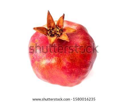 Pomegranate garnet fruit isolated on white. Pomegranate whole with flower. Fresh raw organic garnet fruit on white background. Ruby natural pomegranate (garnet fruit) isolated.  #1580016235