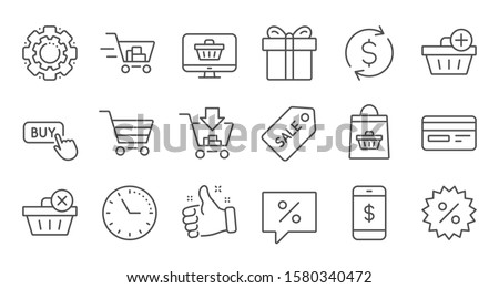 Shopping bag line icons. Gift, Present and Sale discount. Delivery linear icon set. Quality line set. Vector #1580340472