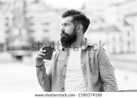 Great ideas come from great coffee. Man drink take away coffee. Morning coffee. Mature hipster enjoy hot beverage. Bearded man relax outdoors. Coffee break concept. Caffeine addicted. #1580374180