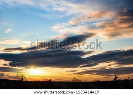 Golden sun at sunset . Cloud landscape. Beautiful sky. Light air dawn sun . Sunny sky background . Journey of the Soul . Journey of the Soul . #1580414419