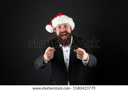 I need you. Happy salesman pointing fingers. Bearded man pointing dark background. Pointing gesture. Target and targeting. Pointing at you. Advertising and sale concept. #1580423779