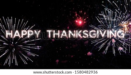 Happy Thanksgiving Greeting Card text in the sky with fireworks in the background, design typography design #1580482936