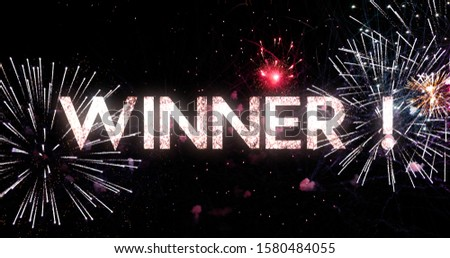 Winner text animation with a splendid fireworks in the background #1580484055