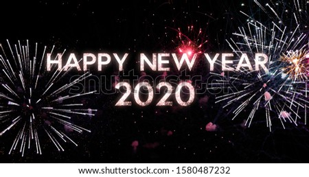 Amazing fireworks in 4K. New Year celebration colorful fireworks. New year and holidays concept. #1580487232