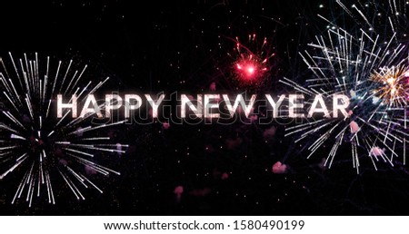 greeting and wishes text of happy new year, fireworks in the background, dark night sky with colorful background 4k #1580490199