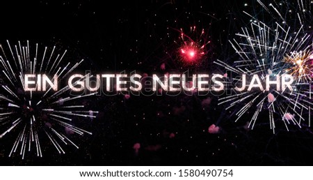 An incredible fireworks display in 4K. New Year celebration colorful firework. New Year concept in German #1580490754