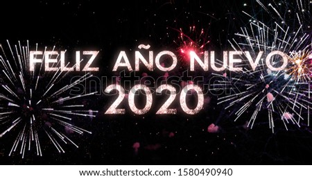 fireworks display in 4K. New Year celebration colorful firework. Concept of the new year in Spanish #1580490940
