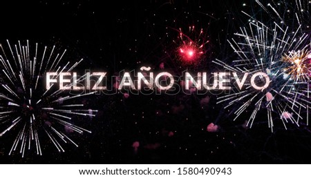 fireworks display in 4K. New Year celebration colorful firework. Concept of the new year in Spanish #1580490943