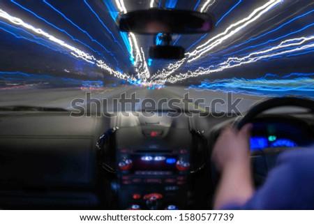 Blurred Light on the road Motion Blur,blur backgroun drive a car #1580577739