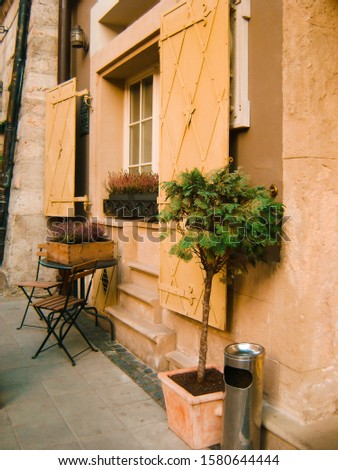 table and decorative tree near the old window with shutters #1580644444