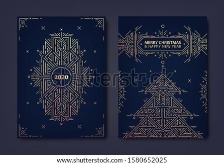 Vector set of New year, Christmas gold invitations, cards, posters, banners, brochures, flyers. Geometric design with christmas tree, linear ornament, frame, border. #1580652025
