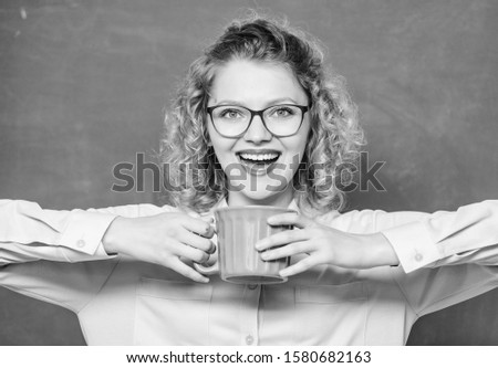 Dose of caffeine. Teacher in glasses drink coffee chalkboard background. Teaching is greatest act of optimism. Woman enjoy coffee before school classes. Coffee addicted. Energy charge for whole day. #1580682163