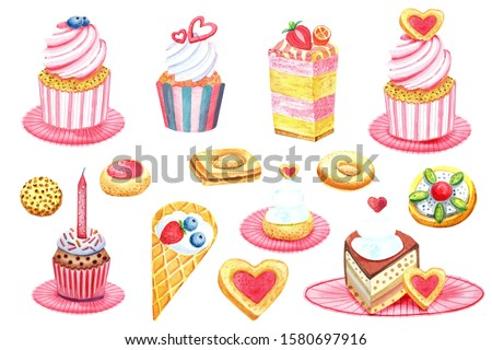 Clip art set Tea time, coffee  cakes, chocolate cake, love heart, strawberry cakes, cookies, cream cakes. Stock illustration. Isolated elements on white background. Hand painted in watercolor.
