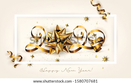 New Year Typographical Creative Background 2020 With Christmas Bow #1580707681