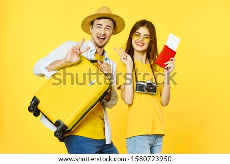 funny man woman passport and plane ticket airport travel vacation #1580723950