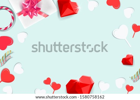 Valentine's Day background. Gifts, candle, confetti, confetti on pastel blue background. Valentines day concept. Flat lay, top view, copy space #1580758162