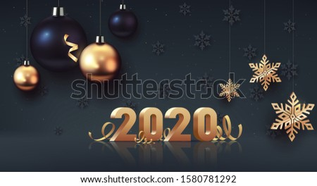 Happy New Year 2020. Gold 3D-numbers with ribbons and confetti on dark background. Gold and black Christmas balls with big golden snowflake. Vector illustration #1580781292