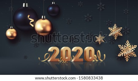 Happy New Year 2020. Gold 3D-numbers with ribbons and confetti on dark background. Gold and black Christmas balls with big golden snowflake. Vector illustration #1580833438